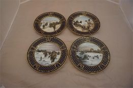 Four Commemorative Spode wall plates, depicting the D- Day landing