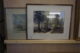 Watercolour of Lethan house Haddington by R Stewart Ellison and a watercolour of the path