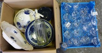 A collection of miscellaneous wine glasses and a box of miscellaneous pottery