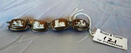 A silver flexible cameo bracelet