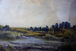 Watercolour of Perthshire landscape signed Robert Nisbet, 9 x 10 inch and a watercolour landscape
