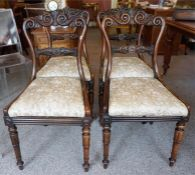 A Set Of Four William IV Rosewood Dining Chairs, Attributed To Gillows