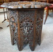 An Anglo Indian Carved Octagonal Occasional Table