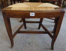 A 19th Century Pine Stool With Rush Seat