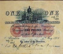 A 1906 One Pound Banknote By The North Of Scotland Bank Limited, dated 1st May 1906, no 491, framed