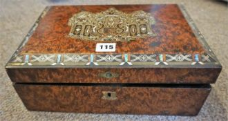Victorian Walnut & Brass Inlaid Writing Slope