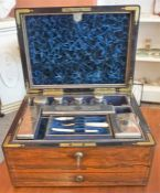 A Victorian Silver Plated Travel Dressing Table Set, In A Rosewood Box