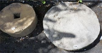 Four Assorted Stone Statue Stands, (largest 55cm diameter) (4)