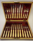 A Set Of Twelve Silver Plated Fruit Knives And Forks, Circa Late 19th Century