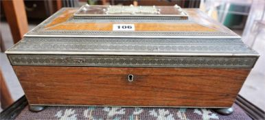 A 19th Century Anglo Indian Vizagapatam Specimen Wood & Ivory Ladies Sewing Box