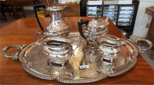 Victorian Engraved Two Handled Silver Plated Serving Tray