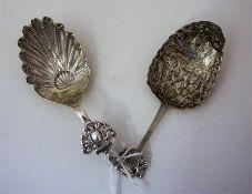 Two 18th Century Dutch Silver Caddy Spoons