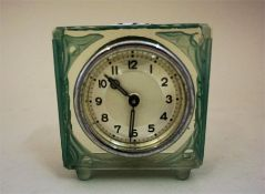 A Bohemian Style Green Frosted Glass Desk Clock