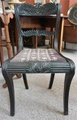 A Regency Anglo Indian Ebony Dining Chair