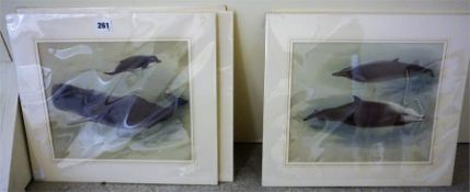 After Archibald Thorburn, A Group Of Six Prints Of Dolphins & Whale Subjects, 23.5 x 29cm, mounted