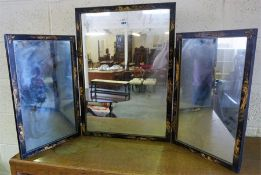 An Edwardian Chinoiserie Decorated Three Fold Dressing Mirror