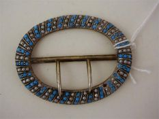 A Victorian Silver, Turquoise And Seed Pearl Buckle