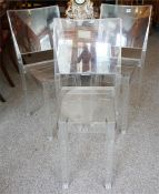 """A Set Of Three """"La Marie"""" Stacking Chairs By Phillipe Stark"""