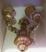 A Pair Of 20th Century Italian Wall Lights, with two sconces, 41cm high, (2)
