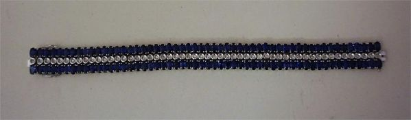 A Diamond & Sapphire Tennis Bracelet, Set in 14k White Gold