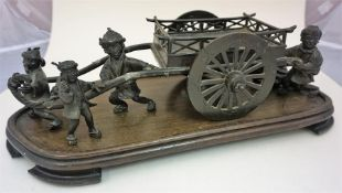 A Large Japanese Bronze Figure Group, Meiji period, modelled as figures or farmers pulling a plough/