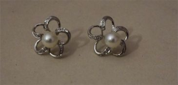 A Pair of Diamond & Pearl Flowerhead Earrings, Set in 18ct White Gold