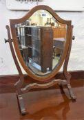 An Edwardian Shield Shaped Mahogany Dressing Mirror