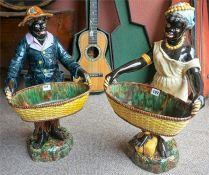 A Pair Of Victorian Majolica Blackamoor Figures