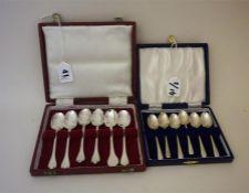 Six Assorted Silver Trefid Teaspoons