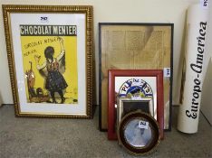 A Framed Print For Menier Chocolate, 28 x 19.5cm, also with a small group of prints and mirrors to