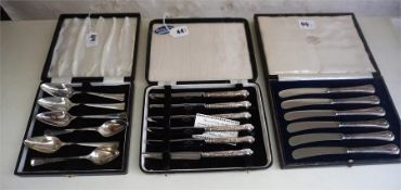 A Large Mixed Lot Of Silver Handled and Mother Of Pearl Fruit Knives and Forks