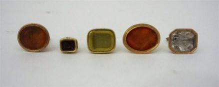 Five Assorted Georgian & Victorian Gilt And Yellow Metal Seal Fobs