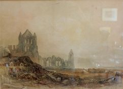 "J N Carter "" Whitby Abbey Yorkshire"" Watercolour"