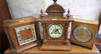 Three Assorted Mantel Clocks