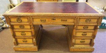 A Late Victorian Golden Oak Partners Desk
