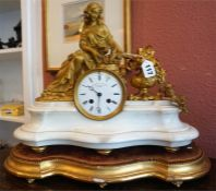 A 19th Century French Spelter Parcel Gilt & Ormolu Mantel Clock