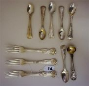 A Collection Of George III Silver Kings Pattern Flatware
