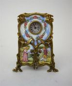 An Art Nouveau Enamel & Gilt Metal Desk Clock