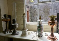 A Mixed Lot Of Oil Lamps & Table Lamps