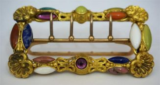 A Victorian High Grade Unmarked Gold And Multi-Gem Buckle