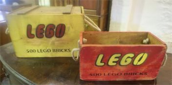 Two Reproduction Painted Pine Boxes For Lego Bricks, painted in yellow and red with carry ropes,