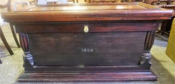 A Victorian Mahogany Blanket Chest, converted from a wardrobe, pine lined, with gilt metal carry