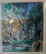"Margaret Laing R.S.W ""Tree Subject"" Mixed Media, signed and dated 1960 to lower right, 52.5 x"