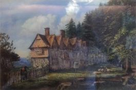 "English School ""Row Of Cottages In Rural Landscape"", Victorian oil on canvas, signed indistictly"
