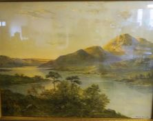 "After Albert De Breanski ""Highland Loch"" Print, 59 x 79cm, in a gilt frame"