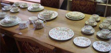 "A Part Set Of Minton ""Haddon Hall"" Dinner & Tea Wares, 51 pieces"