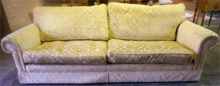 A Large Modern Two Seater Sofa, Upholstered in floral fabric, 76cm high, 272cm wide