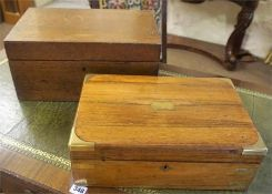 A Victorian Rosewood Portable Box, bound in brass, 12cm high, 35cm wide, also with a Victorian