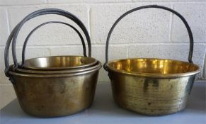 Four Assorted Brass Jelly Pans, (4)
