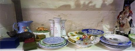 A Mixed Lot Of Victorian & Later Plates & Pottery, to include a Bretby cat figure, Pearlware